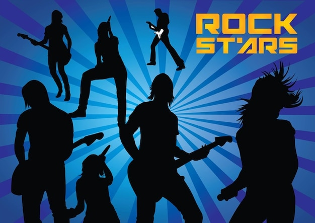 Rock Stars Silhouettes Free Vector