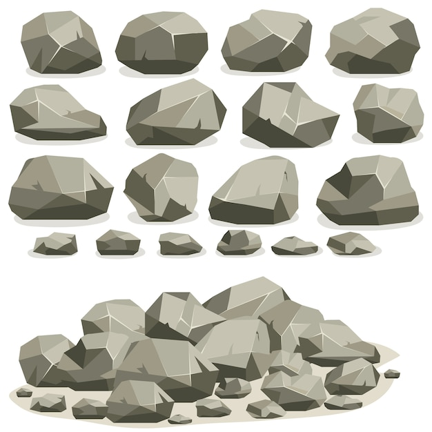 Rock stone cartoon in isometric flat style. set of different boulders. natural stones pile. Premium Vector