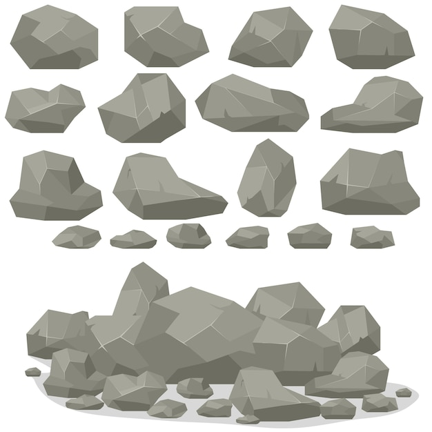 Rock stone cartoon in isometric. Premium Vector