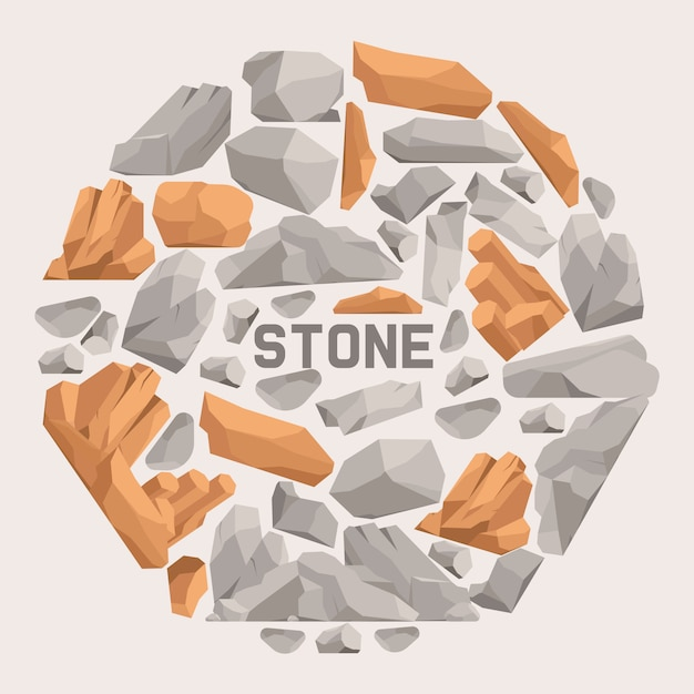 Rock stones cartoon flat composition. stones and rocks in isometric 3d style vector illustration. set of boulders of different shape and color. Premium Vector