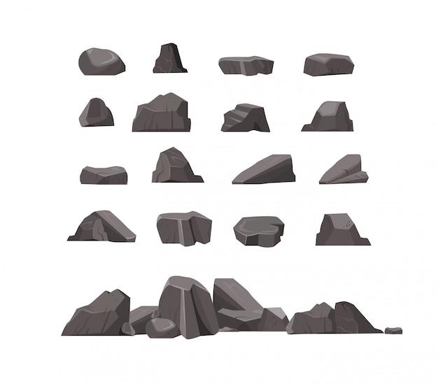 바위 돌 평면 아이콘 세트 무료 벡터