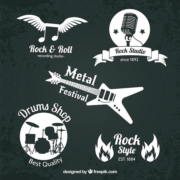 Коллекция логотипов rock с плоским дизайном Бесплатные векторы