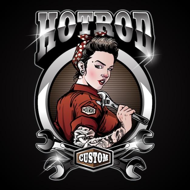 Rockabilly pin up girl hot rod service Premium Vector