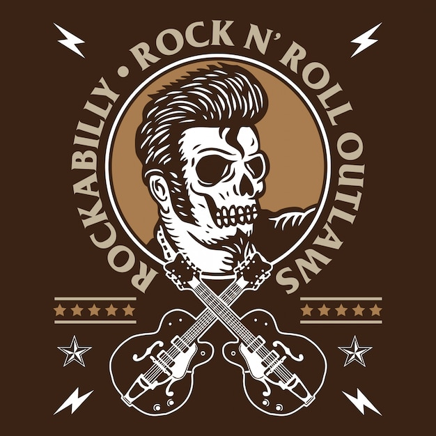 Rockabilly skull Premium Vector