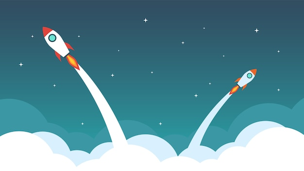 Rocket are flying on the sky. Premium Vector