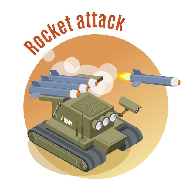 Attacco missilistico con carro armato robot sparatutto in azione di guerra impegnata isometrica Vettore gratuito