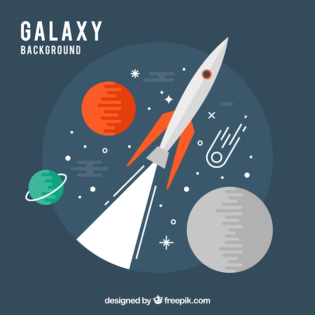 Rocket background and planets in flat design