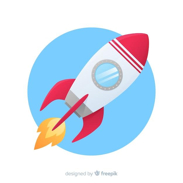 Ракетный фон в плоском стиле Бесплатные векторы