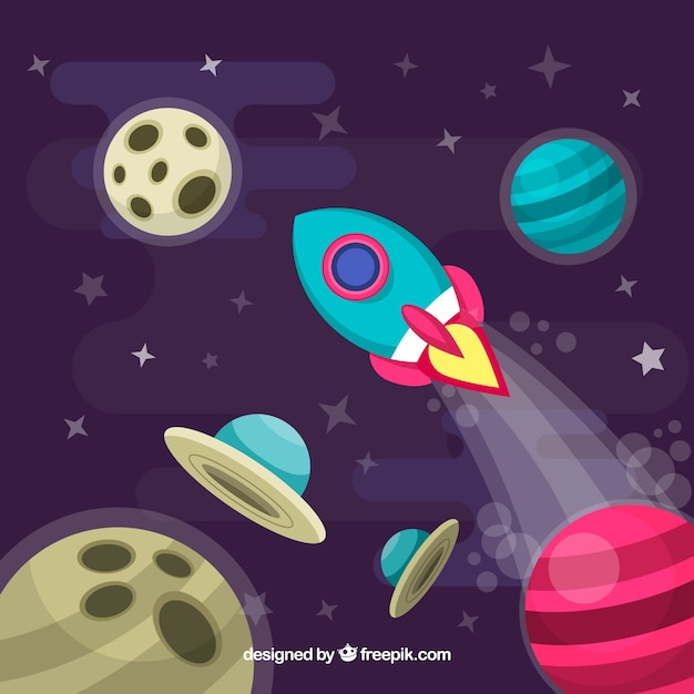 Rocket background in space with planets in flat design