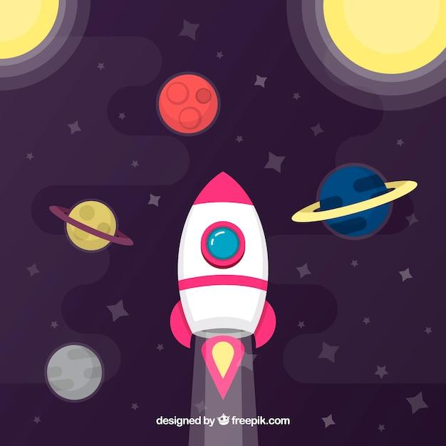 Ракетный фон с планетами Бесплатные векторы