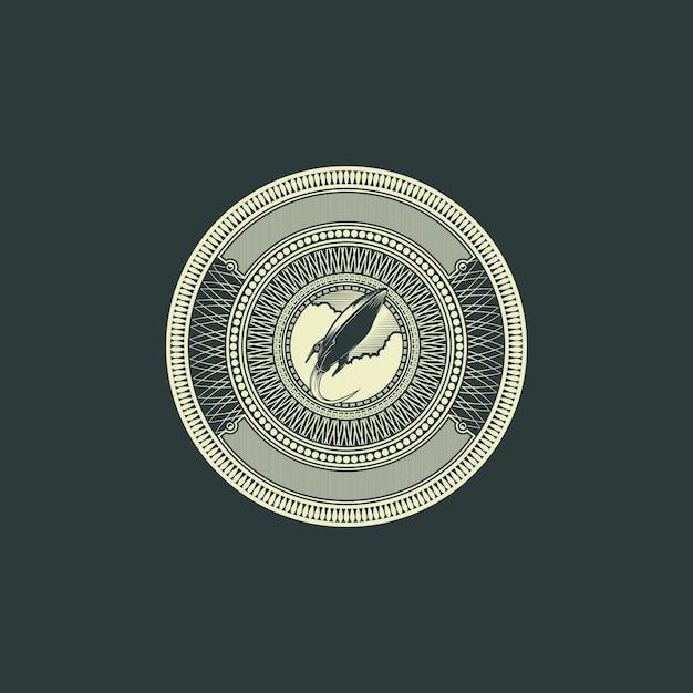 ロケットバッジロゴ彫刻ドルスタイル Premiumベクター