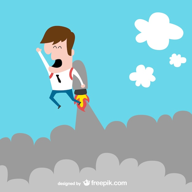 Rocket businessman in the clouds Free Vector