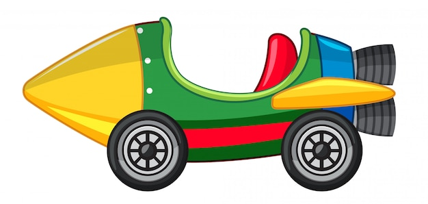 Rocket car in green and yellow color Free Vector