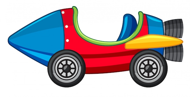 Rocket car in red and blue color Free Vector