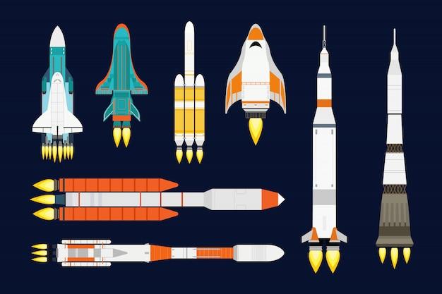 Rocket cartoon set Premium Vector