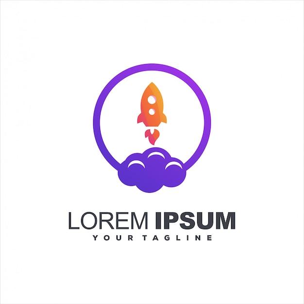 Rocket cloud gradient logo design Premium Vector