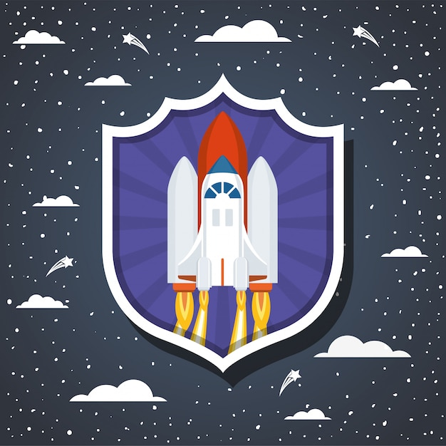 Rocket over clouds and pointed Free Vector