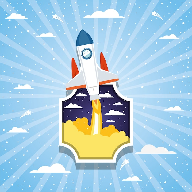 Rocket over clouds and striped Free Vector
