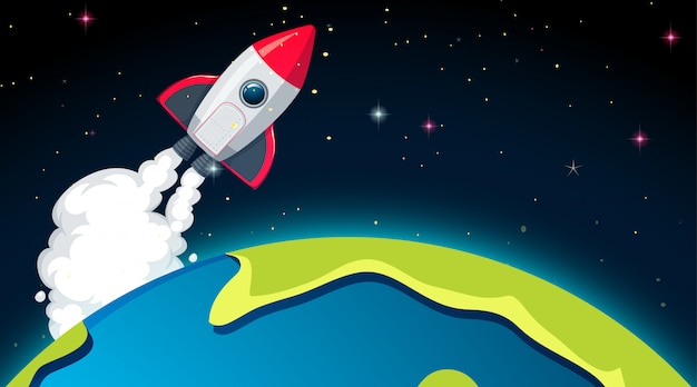 Rocket and earth scene or background Free Vector