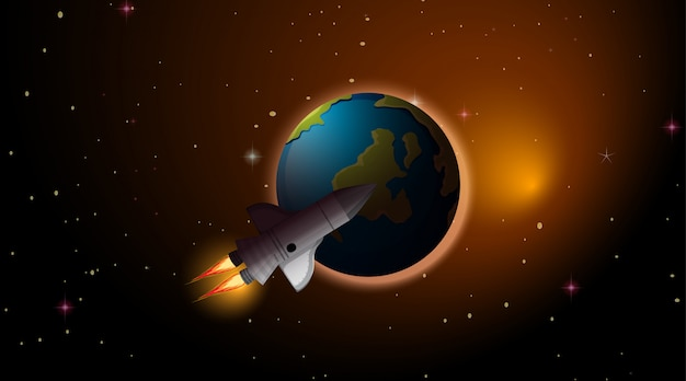 Rocket and earth scene Free Vector