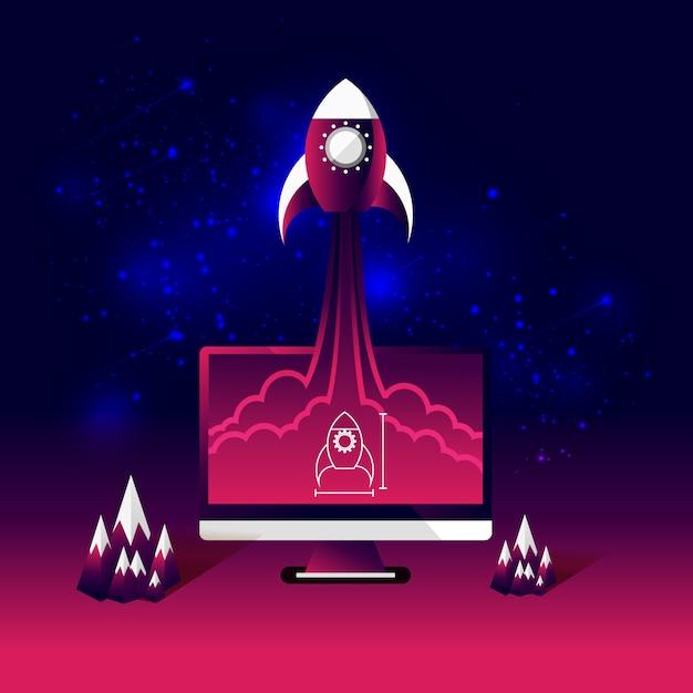 Rocket fly from sketch on desktop computer. Premium Vector