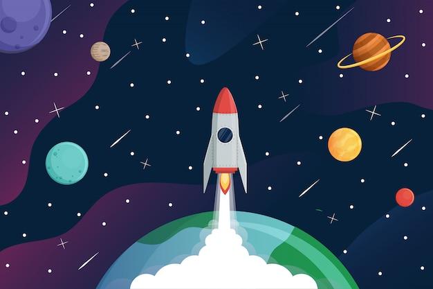 Rocket fly to galaxy, Premium Vector