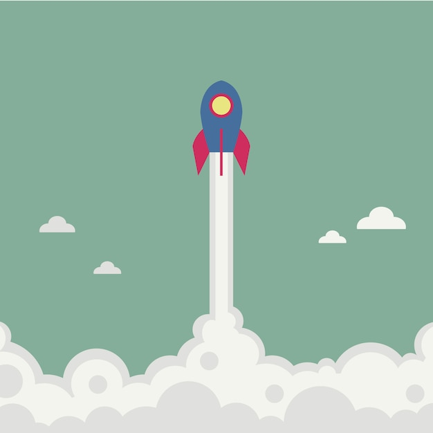 Rocket flyin illustration Free Vector