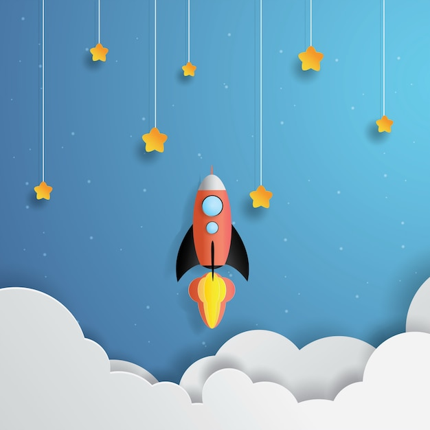 Rocket flying into space, hanging star, paper art, paper cut, craft vector Premium Vector