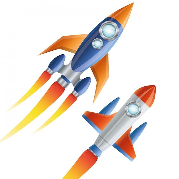 Rocket flying isolated Premium Vector