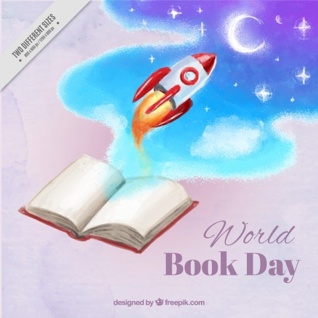 Rocket flying to the moon from a book background Free Vector