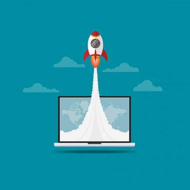 Rocket flying out of laptop screen Premium Vector