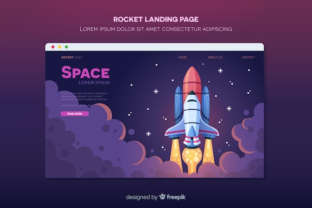 Rocket flying in space landing page Free Vector