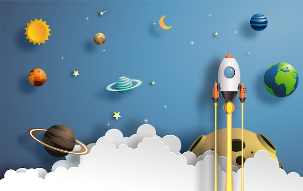 Rocket flying in space Premium Vector