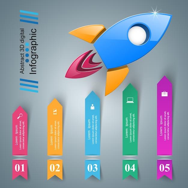 Rocket icon. abstract  illustration infographic. Premium Vector