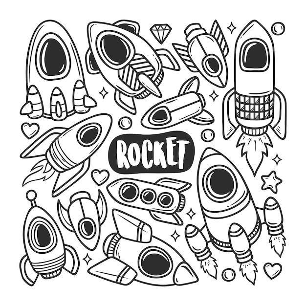 Ракета иконки рисованной doodle раскраски Бесплатные векторы
