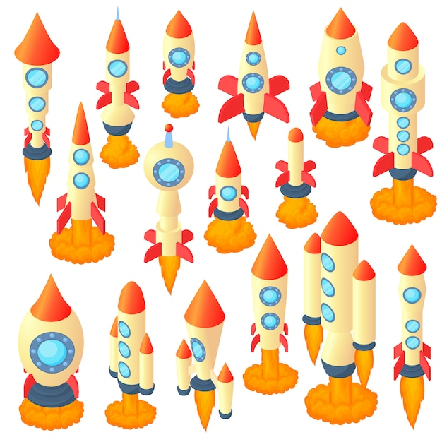 Rocket icons set in cartoon style Premium Vector