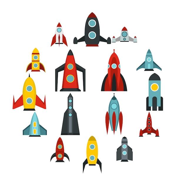 Rocket icons set, flat style Premium Vector