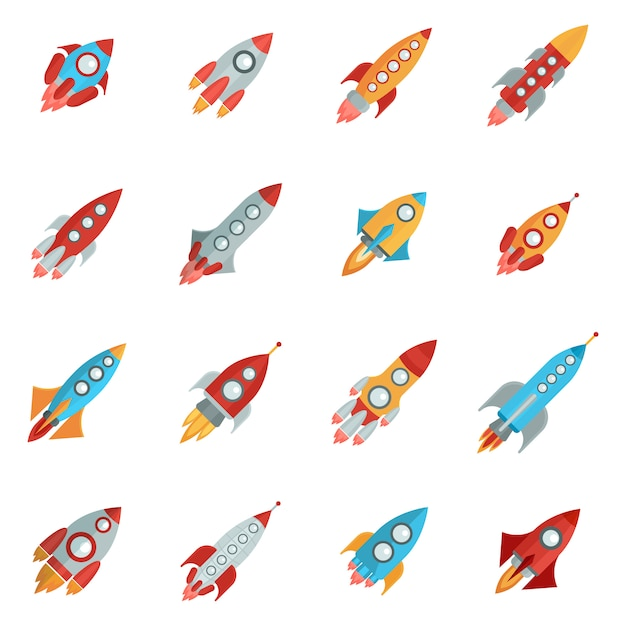 Rocket icons set Free Vector