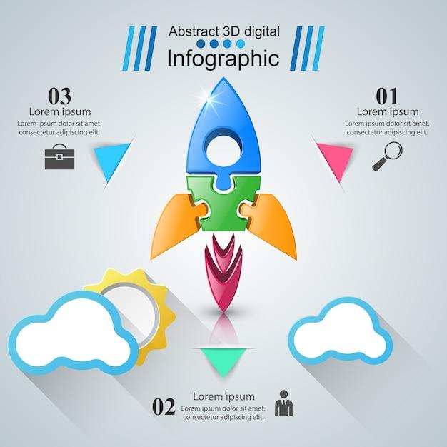 Rocket infographic Premium Vector