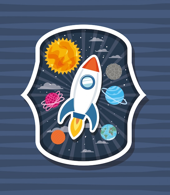 Rocket over label with planets Free Vector