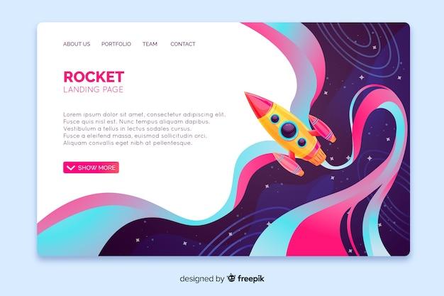 Rocket landing page Free Vector