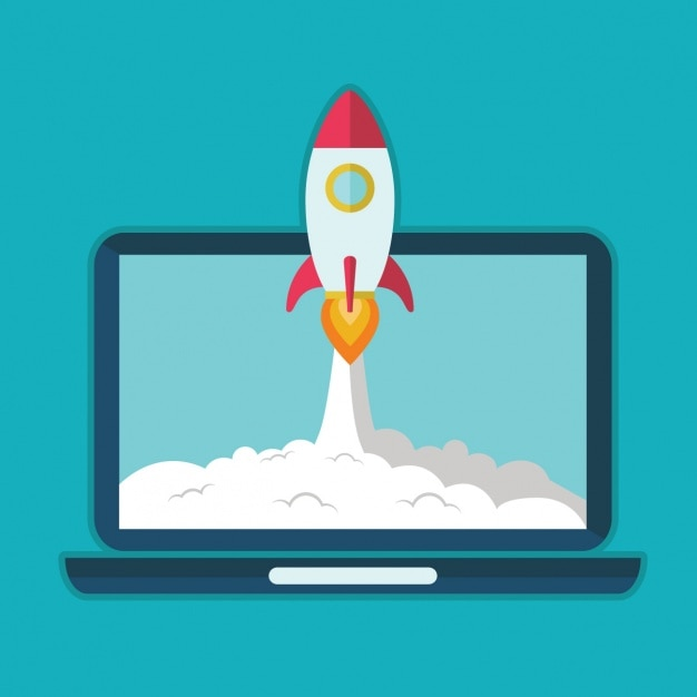 Rocket lauching background Free Vector