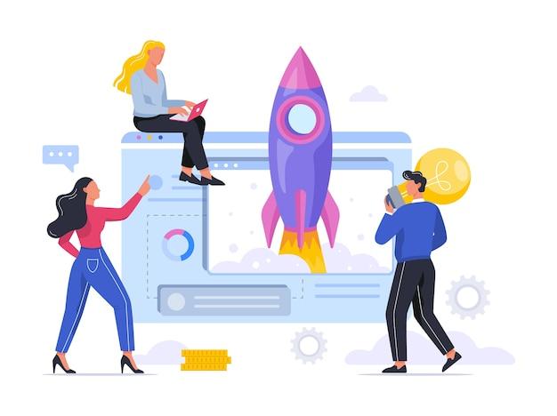スタートアップのメタファーとしてのロケット打ち上げ。事業開発コンセプト。起業家精神のコンセプトです。人々は成功を収めます。図 Premiumベクター