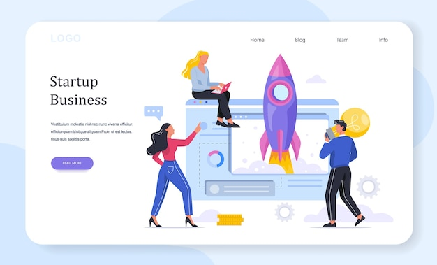 Rocket launch as a metaphor of startup. business development concept. entrepreneurship concept. people achieve success.  illustration Premium Vector