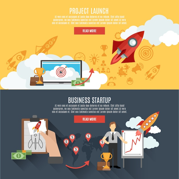 Rocket launch banners interactive webpage design Free Vector