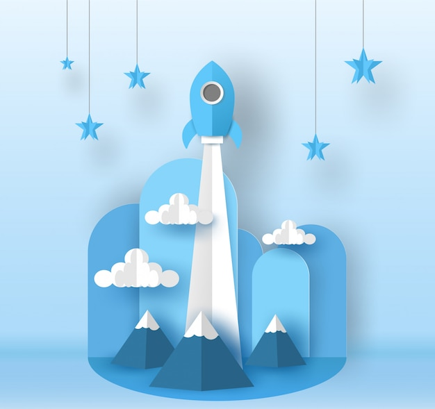 Rocket launch to the blue sky over the mountain go to the star. vector design in paper cut. Premium Vector