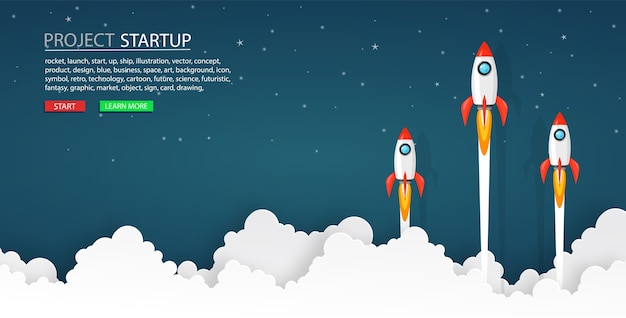 Rocket launch into the night sky Premium Vector