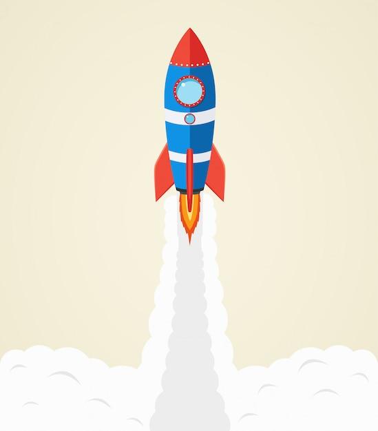 Rocket launch into space Premium Vector