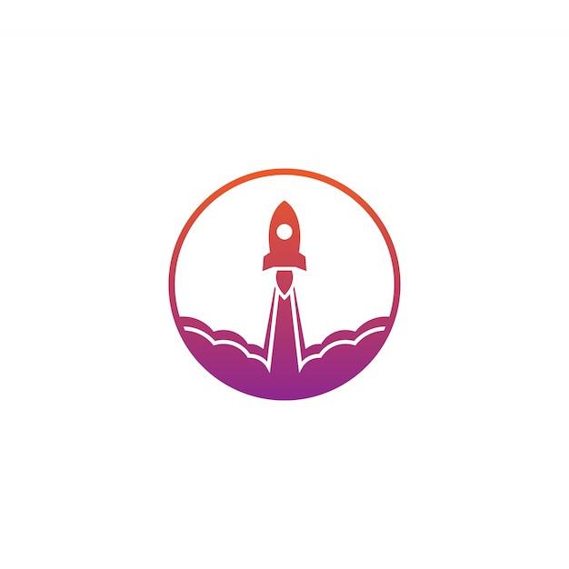 Rocket Launch Logo Vector Design Template Vector