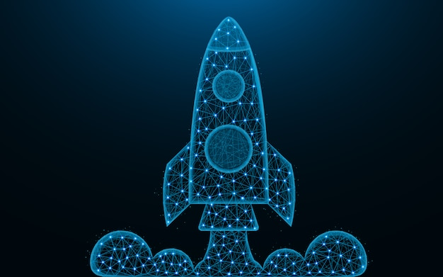 Rocket launch low poly design Premium Vector